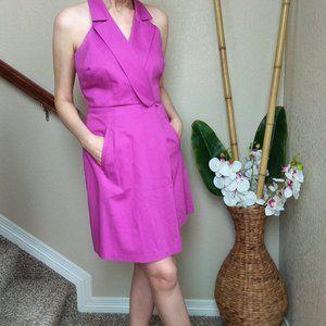 Andrew Marc Purple Cotton Halter Dress